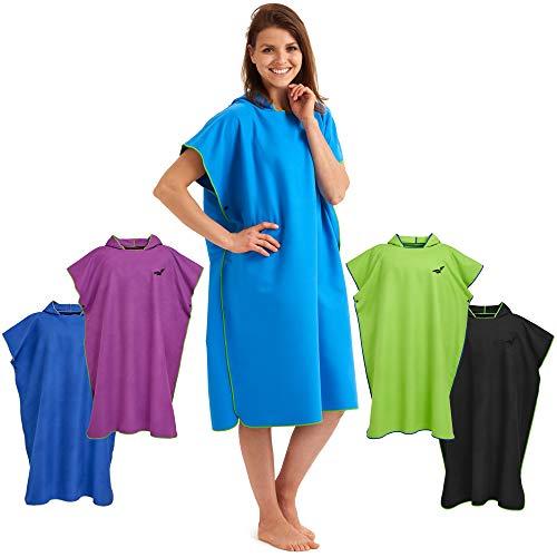 Fit-Flip Umziehhilfe, Surf Poncho, Badeumhang, Umkleidehilfe Damen, Badeponcho, Umkleide Poncho – Größe M, blau/grün