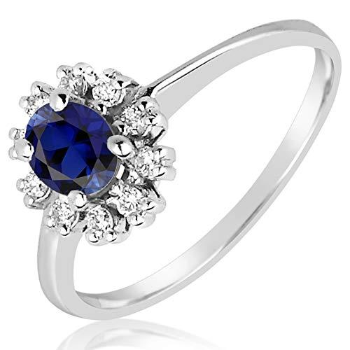 MILLE AMORI ∞ - Anillo de compromiso para mujer de oro y diamante ∞ de oro blanco de 9 quilates, 375 diamantes de 0,12 quilates ∞ zafiro azul sintético de 0,5 quilates (57)