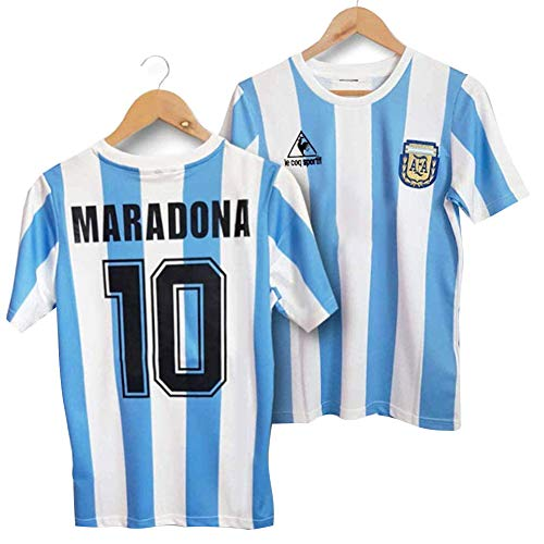 LICHENGTAI Retro 1986 Argentina Uniforme de fútbol,Camiseta Maradona Argentina 1986,Camiseta Argentina Futbol,Camiseta Argentina Hombre,Camiseta Maradonas 10,Tribute to Maradona