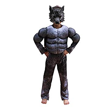 Eppsoie Child Muscle Wolf Suits Costume for Boys kids Halloween Wolf Costumes with Wolf Mask Monster Dress up 8-10
