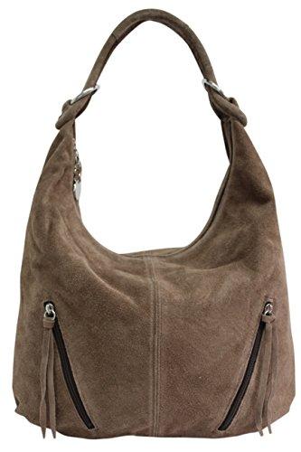 AMBRA Moda Damen Ledertasche Shopper Wildleder Handtasche Schultertasche Beuteltasche Hobo Tasche Groß WL822 (Steinfarben)