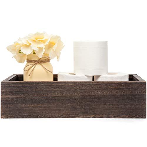 Mkono Bathroom Decor Box Toilet Paper Holder Wood Tank Box Storage Basket with Mason Jar and Flower Bathroom Kitchen Table Countertop Funny Farmhouse Rustic Home DecorYellow
