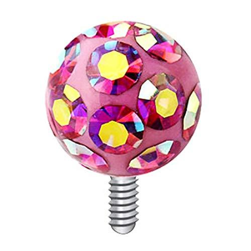 Piersando Farbige Micro Aufsatz für Dermal Anchor Piercing Hautanker Implantat Skin Diver Ferido Kristall Strass Kugel Silber 4mm Pink Rainbow