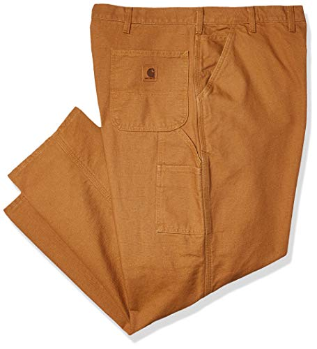 Carhartt mens Washed Duck Dungaree Flannel Lined work utility pants, Carhartt Brown, 36W x 30L US