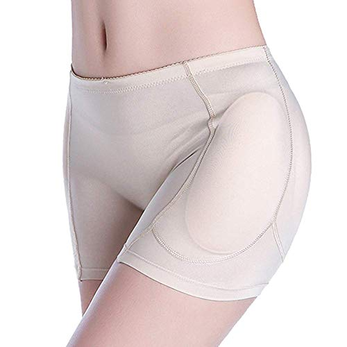 Memoryee Women Plus Size Seamless Hips and Butt Lifter, 4 Removable Pads Enhancer Panties Best Booty Pop Underwear Beige XL