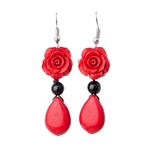 LPOQW Pendientes de mujer estilo étnico rojo largos pendientes colgantes elegantes pendientes colgantes para mujer joyería accesorios regalo
