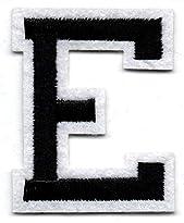 E – Buchstabe; Aufnäher/Patch mit Bügel-Klebe-Fläche zum fixieren