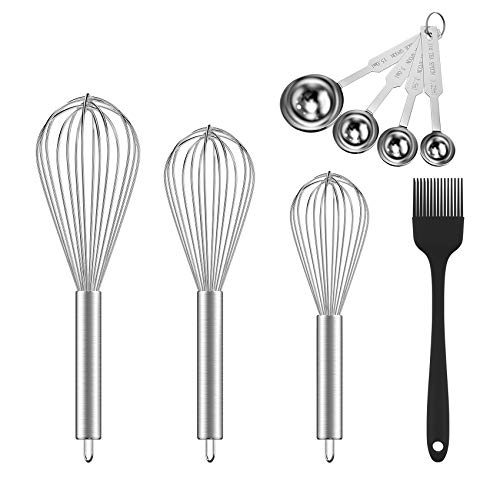 Ouddy (Upgraded) 5 Pack Whisk Set, 8'+10'+12' Stainless Steel Wisks for Cooking, Beating, Stirring, Wire Wisk Kitchen Tool with Stainless Steel Measuring Scoop Set & Cooking Brush