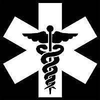 車 ステッカーデカール-医療ロゴカーステッカー防水ケース傷のつきにくいデカールラップトップスーツケースオートバイカーアクセサリーPVC9cmx9cm-白