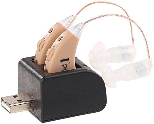 newgen medicals Hörhilfe: HdO-Hörverstärker-Paar HV-340 mit Ex-Hörer, Akku & USB-Ladeschale (HdO Verstärker)