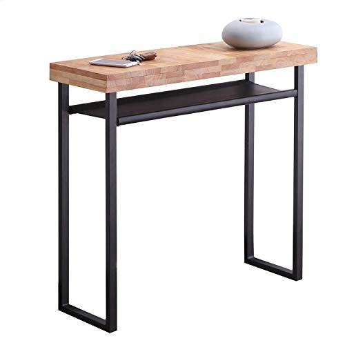 Natural, Recibidor Salon, Entrada Comedor, Acabado en Roble Salvaje y Negro, Medidas: 90 cm (Largo) x 80 cm (Alto) x 30 cm (Fondo)