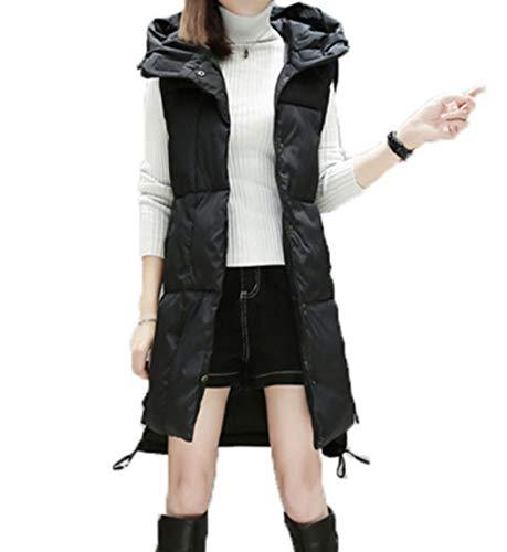 GL SUIT Dames Hooded Gilet Lange Vest Body Warmer Taillejas Gewatteerde Jas Outwear Winter Outdoor Gewatteerde Mouwloze Jas voor Wandelen Reizen