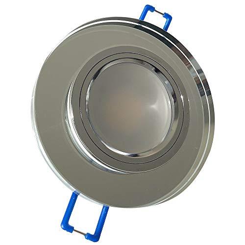 LED Glas Einbaustrahler 230V inkl. 6 x 9W SMD LM Farbe Silber IP20 LED Einbauleuchte...