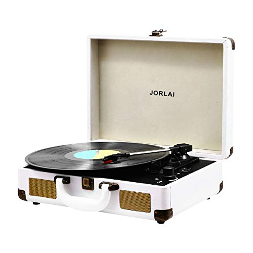 Vinyl Record Player, JORLAI 3-Speed Turntable Record Players Suitcase with Stereo Speaker/ Rechargable Battery/ Vinyl-to-MP3 Recording/ Headphone Jack/ Aux Input/ RCA Line Out ¨C White