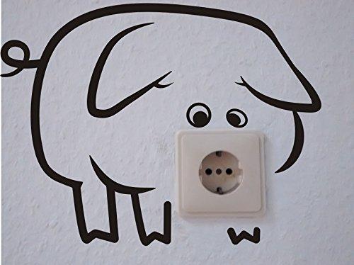 Steckdosenaufkleber - Wandtattoo - Steckdose - Schwein - Humor - Tier -Aufkleber (M070 Schwarz)