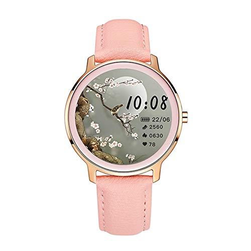 Smart Watch Super Slim Mode Damen Smart Watch Full Touch Runder Bildschirm Smartwatch Für Frau Herzfrequenz-Monitor für Android und iOS (Color : Leather Pink)