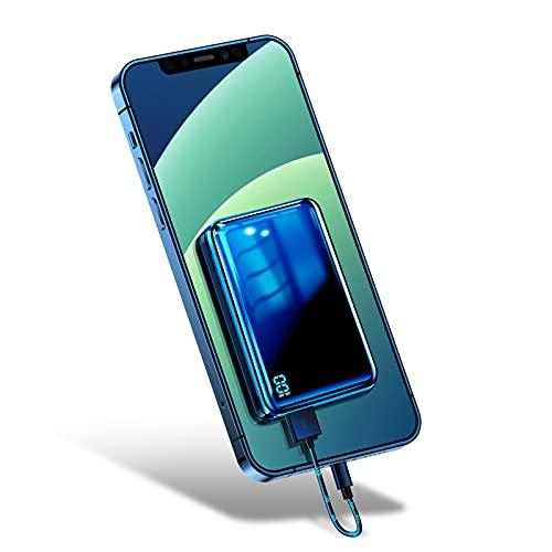 Bscame Powerbank 10000mAh,USB C Kleiner & Leichter Externer Akku Mini, Extra Kompakt, 2 USB Ausgänge und LCD Anzeige Kompatibel mit iPhone, Samsung, Huawei, iPad und mehr (Schwarz)