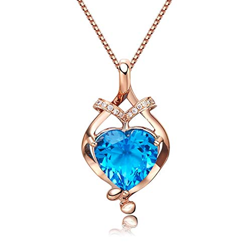 AnazoZ 18K Oro Rosa Colgante de Mujer Oro Rosa Colgante de Mujer Corazón Topacio Azul Blanco 2.75ct