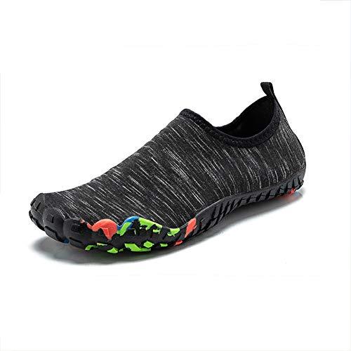 WFIZNB Zapatos Descalzos Zapatillas de Deporte Unisex Zapatos de Agua Transpirables Dedo del pie Descalzo Playa natación Pesca Adecuado para Interiores y Exteriores tamaño 35-46,Negro,45