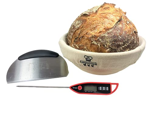 9 Inch Proofing Basket, Digital Thermometer, Stainless Steel Dough Scraper and Bread Proofing Basket Liner, Bread Proofing Baskets, All-Natural Cane. Gift for Bakers.