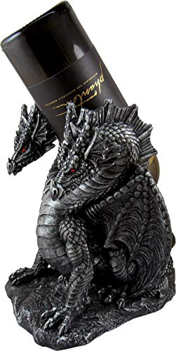 DWK-HD49954 - Hydra's Hydration 9 Inch Mythical Dragon Wine Bottle Holder Figure - Home Decor Fantasy Sculpture Decoration - Decorative Animal Statue - Drinking Decanter Gift - Gothic Wines Ornament