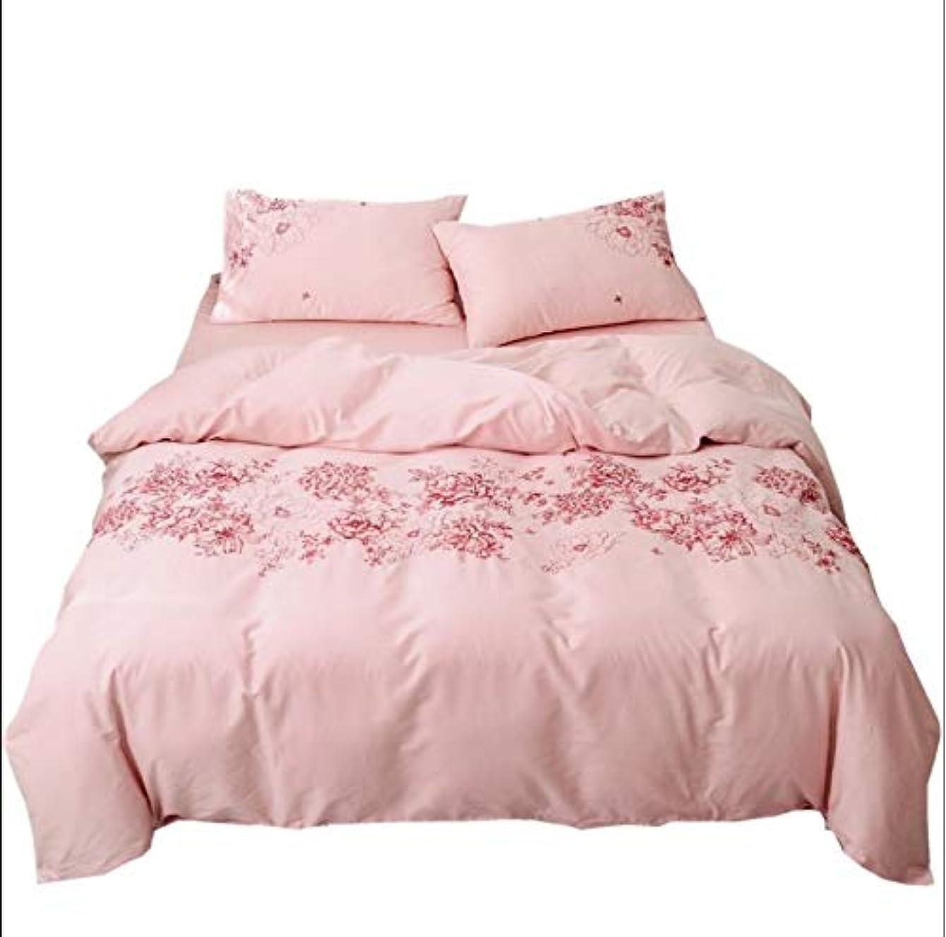 マントプレゼンテーションアルネピンク 和式 60系 綿100% 寝具カバー4点セット 掛け布団カバー シーツ 枕カバー クイーン