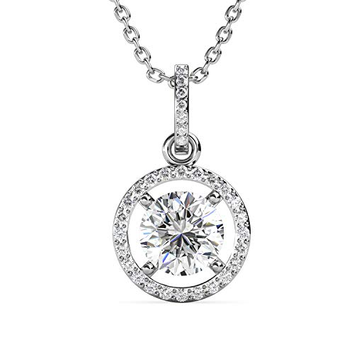 1 Carat Moissanite Diamond Round Halo Pendant Necklace, A Stunning Gift for...