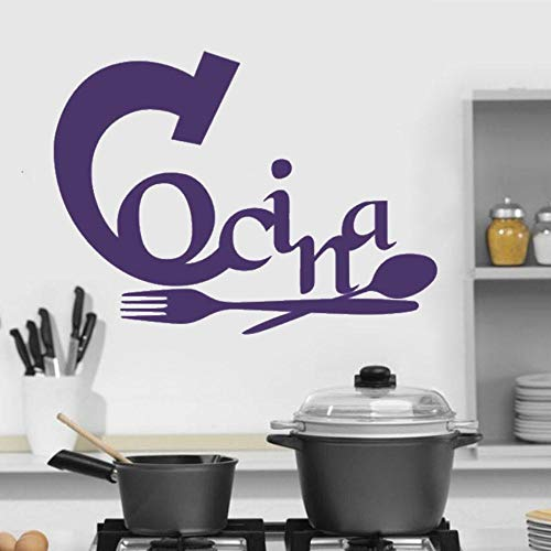 AQjept Etiqueta de la Pared del Vinilo de la caligrafía de la Cocina española extraíble Etiqueta de la Pared de la Cocina Pintura Decorativa moderna84x64cm