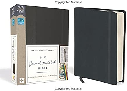 NIV, Journal the Word Bible, Hardcover, Black, Red Letter Edition, Comfort Print: Reflect, Take Notes, or Create Art Next to Your Favorite Verses