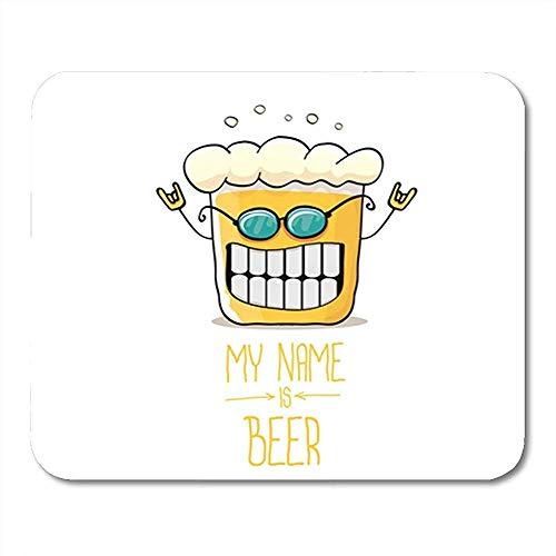 30X25Cm,Gummiunterseite Mausmatte,Gaming Mausepad,Pad Maus Unterlage,Cartoon Funky Bierglas Charakter Sonnenbrille Comic Label My Office Supplies, Nons-Lip Rubber Mousepad