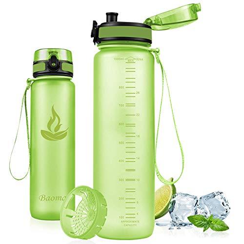 Baomay Borraccia Sportiva Bottiglia d'Acqua in Plastica con Filtro - 1 litro Borracce per Bambini, Bici, Scuola Zaino, Palestra Sport | Tritan Senza-BPA & Prova di Perdite
