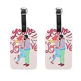 COOSUN Original Love Composition Etiquetas de equipaje etiquetas de viaje Nombre titular de la tarjeta para equipaje maleta mochilas, 2 unidades