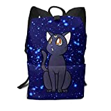 Sailor Moon Crystal Luna Cat Face Silhoutte Unisex Hiking Shoulder Backpack Bookbag for Elementary Students Casual Daypack