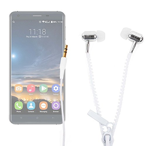 DURAGADGET Innovadores Auriculares con Cremallera para Smartphone Oukitel K6000 Pro   Ulefone Metal - ¡Irá A La Última con Este Modelo De Auricular!