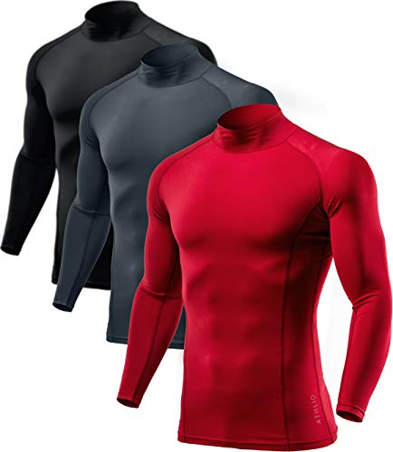 ATHLIO Men's Fit Mock Long Sleeve Compression Shirts, Athletic Workout Shirt, Cool Dry Active Sports Base Layer Top, Mock Neck 3pack(btl07) - Black/Charcoal/Red, Small