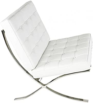 Ariel- Rohe Style Classic Designer Barcelona Chair in Whtie Top Grain Leather