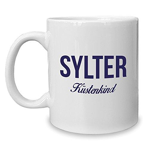 Shirt Department - Kaffeebecher - Tasse - Sylter Küstenkind Weiss-dunkelblau