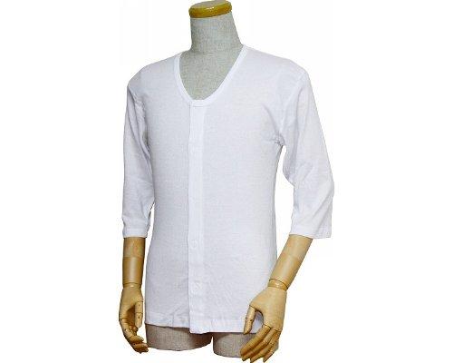 紳士前開きシャツ (ワンタッチテープ式) 七分袖  L
