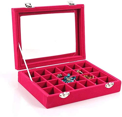 Schmuck Alter Box 24 Gitter Schmuck Tablett Box Glas Klardeckel Vitrine Displayhalter Alter Ohrring Ring Box Schmuckschatullen Tragbar/Beige / 20 * 15 * 4,5 cm