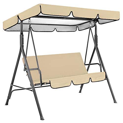 Hollywoodschaukel-Abdeckungs-Set für den Garten, wasserdicht, Überdachung und Schaukelsitzbezug für den Außenbereich, Garten, Veranda, Hof, 2 Stück (beige)