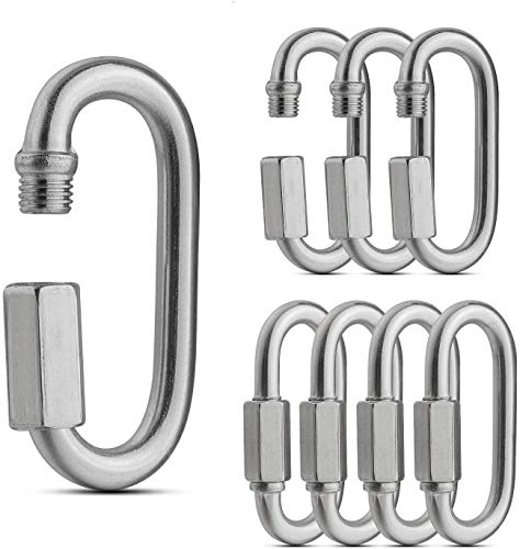 8 Pack Threaded Quick Link Locking Carabiner Clip, Tow Chain Quick Links, 1/4 Inch Diameter Rope Connector for Trailer, Swing, Hammocks, Cable, 16,500 lbs Break Strength