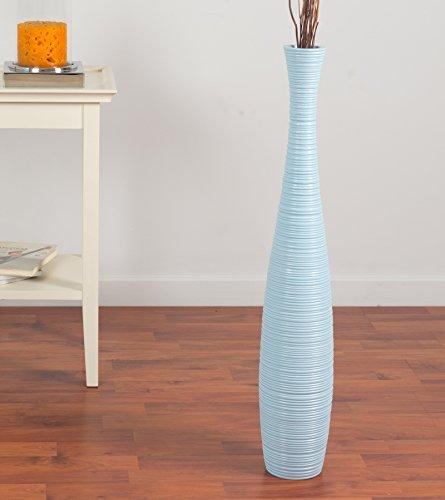 Leewadee Große Bodenvase für Dekozweige hohe Standvase Design Holzvase 75 cm, Mangoholz, blau