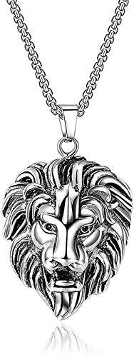 ZGYFJCH Co.,ltd Collar FashionSteel Lion Head Colgante Collar Punk Rock Hip Hop Joyas Hermano Regalo Cadena Longitud 50-70Cm-70CM Colgante Collar Regalo para Hombres Mujeres Niñas Niños