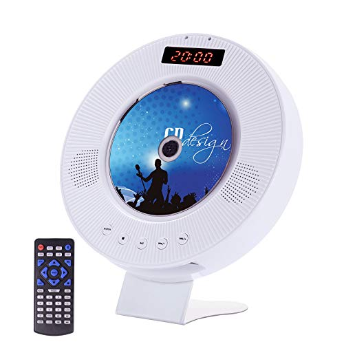 Portable CD/DVD Player with Bluetooth, Wall CD/DVD Player Boombox with Dust Cover, CD/DVD Players for Home with HDMI AUX Input Output, Sync TV Projector, FM, All Region Discs SD Card USB Disk