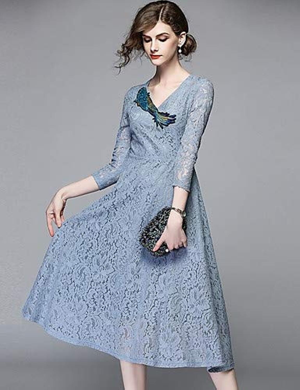 Women's Basic Slim Swing Dress - Solid colord Floral   Geometric Lace Mesh   Tassel