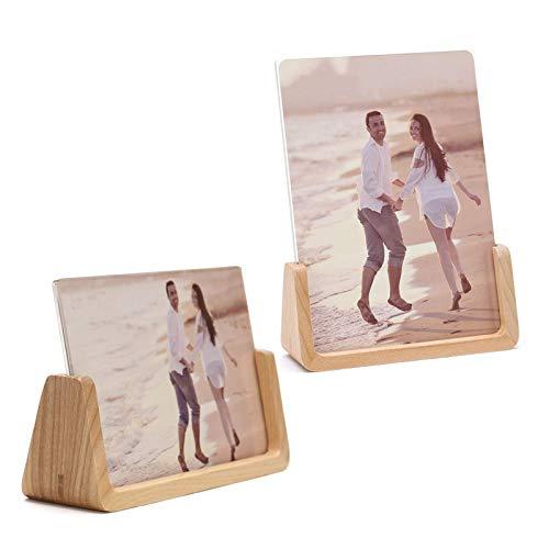 2 marcos de fotos, marco de fotos de madera maciza con cubiertas de vidrio acrílico transparente de alta definición para decoración de la sala de exposición, se adapta a fotos de 10 x 15 cm (abedul)