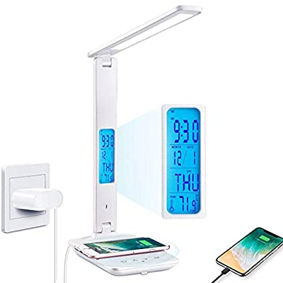 Desk Lamp, LED Desk Lamp with Wireless Charger, USB Charging Port, Adjustable, Foldable ?Table Lamp with Clock, Alarm, Date, Temperature, 5 Levels of Dimmable ?Lighting?, Office Lamp with Adapter