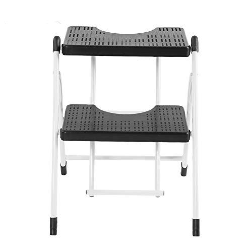Mini taburete plegable de escalera de servicio pesado de 2 escalones con...