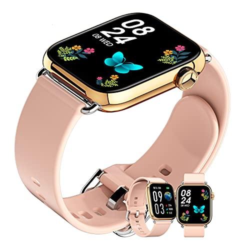 HQPCAHL Smartwatch Relojes Inteligentes Hombre Reloj Digital Monitor De Sueño Reloj Deportivo Hombre Pulsometro Pulsera Actividad Inteligente Caloría Reloj Inteligente Mujer para Android E iOS,Oro