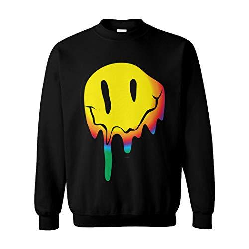 Tcombo Melting Smile Face - Psychedelic Drug Acid Unisex Crewneck Sweatshirt (Black, Medium)